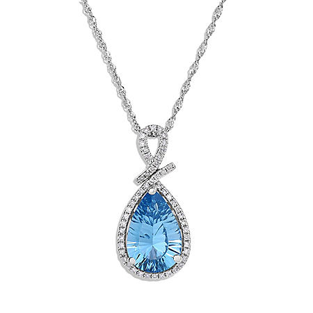Concave Cut Blue Topaz and Diamond Pendant in 14K White Gold