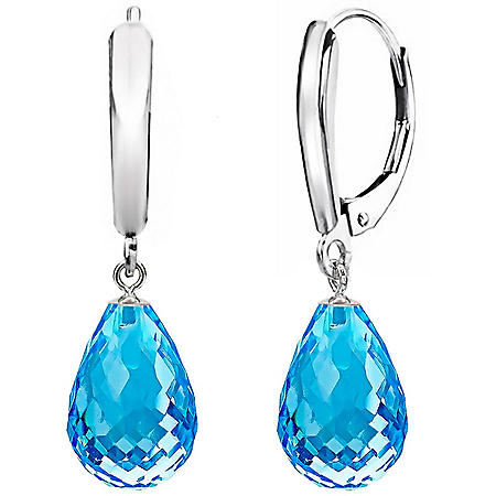 8x12MM Blue Topaz Tear Drop Leverback Earring in Sterling Silver