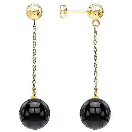 10MM Onyx Dangle Earrings in 14K Yellow Gold