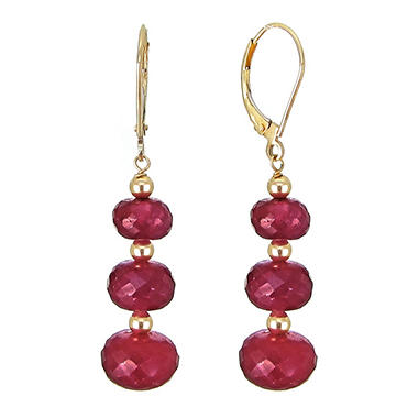7 10mm Graduated Corundum Ruby Earrings In 14k Yellow Gold