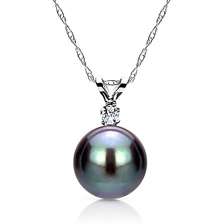 "9-10MM Tahitian Pearl with .05 ct Diamond Pendant and 18"" Rope Chain Necklace in 14K White Gold"