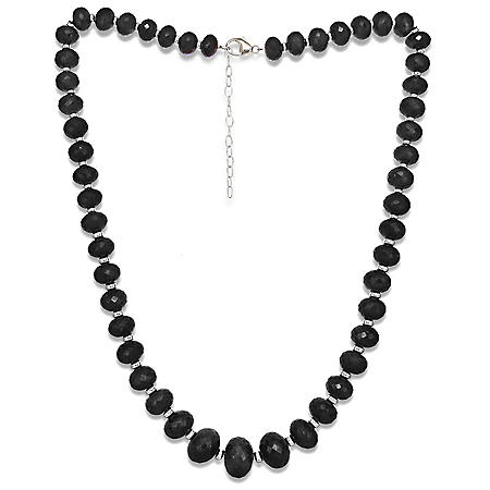"""7-13MM Graduated Spinel 18""""+ 2"""" Extender Beaded Necklace in Sterling Silver"""