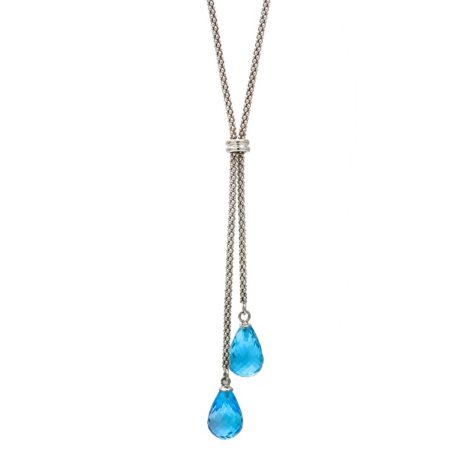 "8x12MM Blue Topaz Tear Drop 17"" Necklace in Sterling Silver"