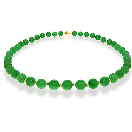 "8MM Green Jade with Beads and Ball Clasp 18"" Necklace in 14K Yellow Gold"