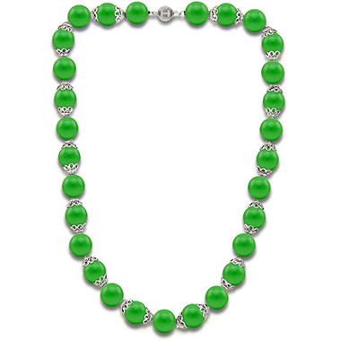8MM Green Jade with Fancy Cup and Ball Clasp 18