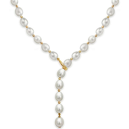 "8-9MM Freshwater Pearl with Beads 19.5"" Lariat Adjustable Necklace in 14K Yellow Gold"