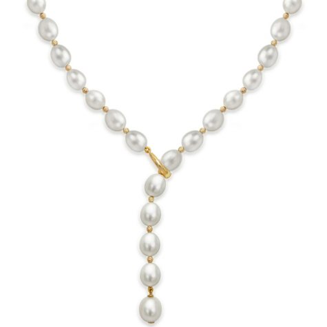 """8-9MM Freshwater Pearl with Beads 19.5"""" Lariat Adjustable Necklace in 14K Yellow Gold"""