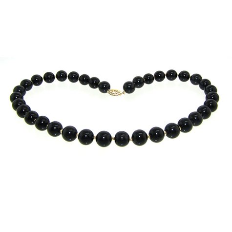 "10MM Onyx and Gold Bead 16"" Necklace in 14K Yellow Gold"