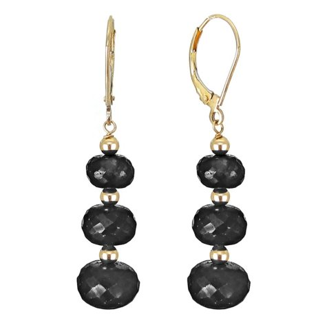 7-10MM Graduated Spinel Beaded Earrings in 14K Yellow Gold