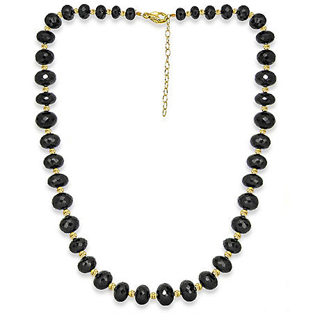 """7-13MM Graduated Spinel 20""""+ 2"""" Extender Beaded Necklace in 14K Yellow Gold"""