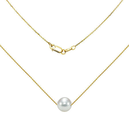 "8-9MM Akoya Pearl 18"" Swivel Pendant in 14K Yellow Gold"