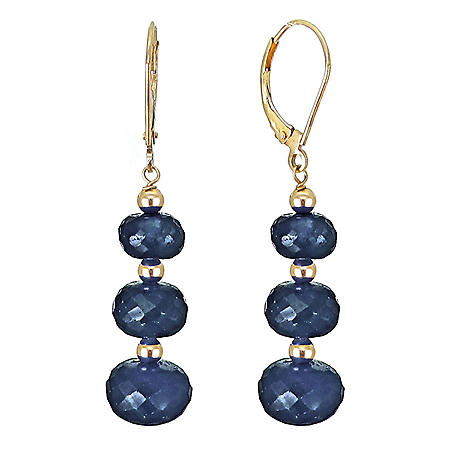 7-10MM Graduated Corundum Sapphire Earrings in 14K Yellow Gold