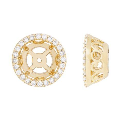 Diamond Halo Earring Jacket  in 14K Yellow Gold