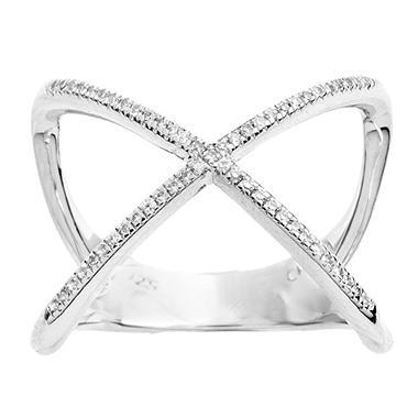 Sterling Silver Diamond Fashion X Ring Sam s Club