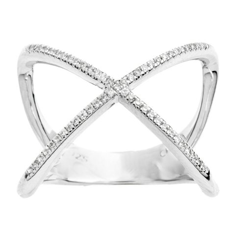 Sterling Silver Diamond Fashion X Ring