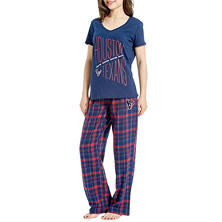 NFL Women's Flannel Pant and Short Sleeve Top Set