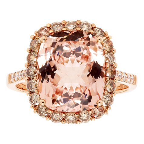 5.5 CT. Morganite and .89 CT. Diamond Ring in 14K Rose Gold