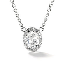 Premier Diamond Collection 0.48 CT. T.W. Oval Diamond Halo Pendant in 14K White Gold - IGI (E,SI2)
