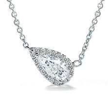 Premier Diamond Collection 0.51 CT. T.W. East-West Pear Diamond Halo Pendant in 14K White Gold - IGI (E,SI2)