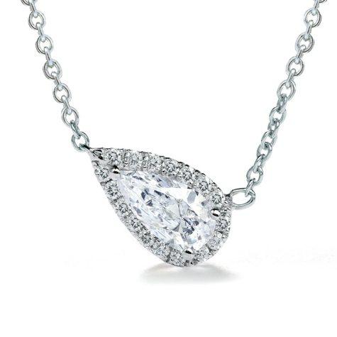 Premier Diamond Collection 0.51 CT. T.W. East-West Pear Diamond Halo Pendant in 14K White Gold - IGI (E,SI2)