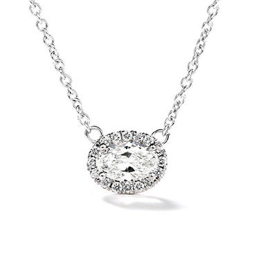 Premier Diamond Collection 0.54 CT. T.W. East-West Oval Diamond Halo Pendant in 14K White Gold - IGI (F,SI2)
