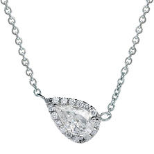 Premier Diamond Collection 0.41 CT. T.W. East-West Pear Diamond Halo Pendant in 14K White Gold - IGI (E,I1)