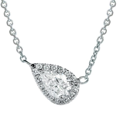 Premier Diamond Collection 0.39 CT. T.W. East-West Pear Diamond Halo Pendant in 14K White Gold - IGI (I,VVS2)