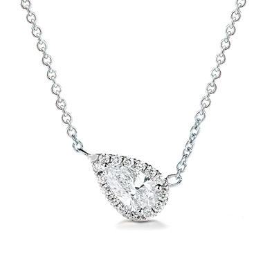 Premier Diamond Collection 0.43 CT. T.W. East-West Pear Diamond Halo Pendant in 14K White Gold – GIA & IGI (G,SI1)