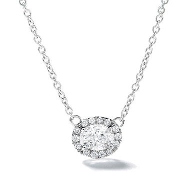 Premier Diamond Collection 0.44 CT. T.W. East-West Oval Diamond Halo Pendant in 14K White Gold – GIA & IGI (E,SI1)