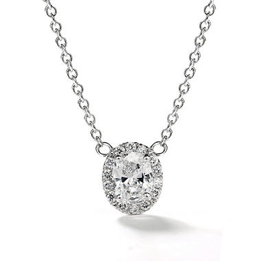 Premier Diamond Collection 0.48 CT. T.W. Oval Diamond Halo Pendant in 14K White Gold - IGI (D,SI2)