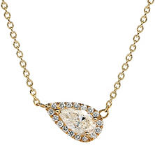 Premier Diamond Collection 0.51 CT. T.W. East-West Pear Diamond Halo Pendant in 14K Yellow Gold - IGI (D,I1)