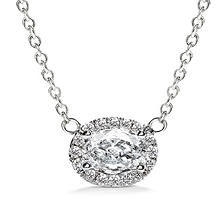 Premier Diamond Collection 0.50 CT. T.W. East-West Oval Diamond Halo Pendant in 14K White Gold - IGI (F,VS1)