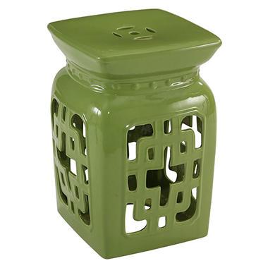 Leighton Ceramic Garden Stool, Lime Green