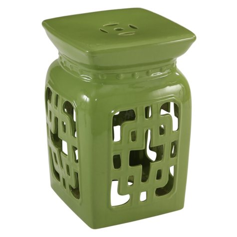 Leighton Ceramic Garden Stool, Lime Green