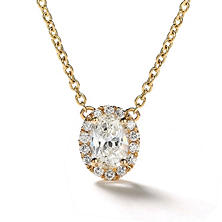 Premier Diamond Collection 0.41 CT. T.W. Oval Diamond Halo Pendant in 14K Yellow Gold - IGI (H,VVS2)