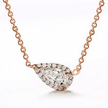Premier Diamond Collection 0.44 CT. T.W. East-West Pear Diamond Halo Pendant in 14K Rose Gold - IGI (F,VS2)