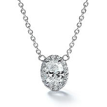 Premier Diamond Collection 0.51 CT. T.W. Oval Diamond Halo Pendant in 14K White Gold - IGI (F,VVS2)