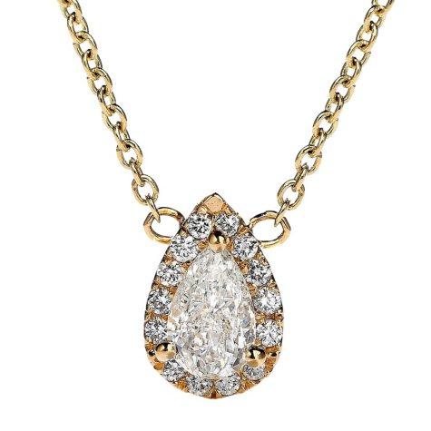 Premier Diamond Collection 0.31 CT. T.W. Pear Diamond Halo Pendant in 14K Yellow Gold - IGI (G,VS1)