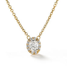 Premier Diamond Collection 0.30 CT. T.W. Oval Diamond Halo Pendant in 14K Yellow Gold - IGI (F,SI2)