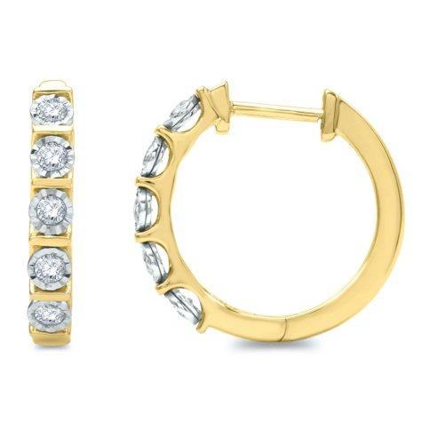 0.57 CT. T.W. Diamond Hoop Earrings in 14K Yellow Gold (H-I, I1)