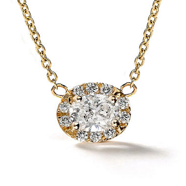 Premier Diamond Collection 0.39 CT. T.W. East-West Oval Diamond Halo Pendant in 14K Yellow Gold - IGI (F,VVS1)