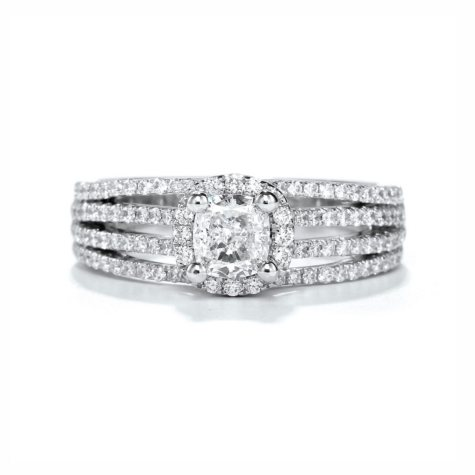 Premier Diamond Collection 1.74 CT. T.W. Cushion Cut Diamond Halo Ring with Four Row Split Band in 18K White Gold - GIA & IGI (I, SI1)