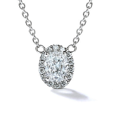Premier Diamond Collection 0.37 CT. T.W. Oval Diamond Halo Pendant in 14K White Gold - IGI (F,VS2)