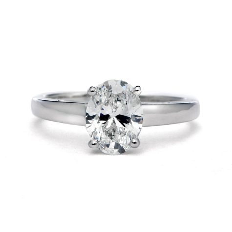 Premier Diamond Collection 1.51 CT. Oval Cut Diamond Solitaire Ring in 18K White Gold - GIA & IGI (E, VVS2)
