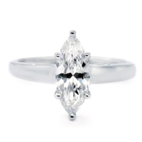 Premier Diamond Collection 1.51 CT. Marquise Cut Diamond Solitaire Ring in 18K White Gold - GIA & IGI (E, SI2)