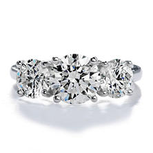 Premier Diamond Collection 3.32 CT. T.W. Triple Round Brilliant Diamond Ring in 18K White Gold - GIA & IGI (I,VS1)