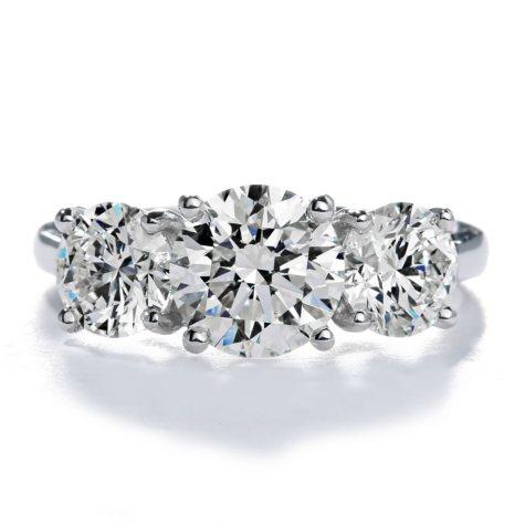 Premier Diamond Collection 3.32 CT. T.W. Triple Round Brilliant Diamond Ring in 18K White Gold - GIA & IGI (I,VS1)