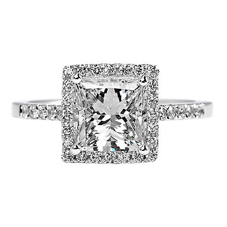Premier Diamond Collection 2.37 CT. T.W. Princess Cut Diamond Ring with Pave Square Halo in 18K White Gold - GIA & IGI (F, SI2)
