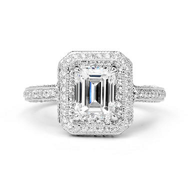 Premier Diamond Collection 2.86 CT. T.W. Emerald Cut Diamond Halo Ring With Three-Sided Pave Diamond and Milgrain Band in 18K White Gold – GIA & IGI (H,SI1)