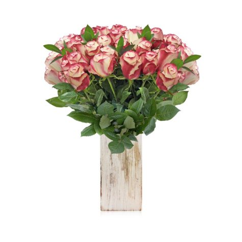 Rose and Ruscus Bouquet, 30 stems (choose color)